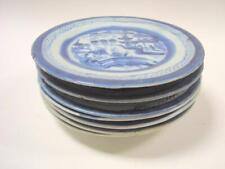 8 Antique Chinese Export White Blue Canton Plates 7 1/4''