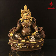 "9"" China Tibetan old bronze copper gilt Buddhism Yellow Jambhala Buddha statue"