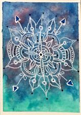 SEArts Cosmic Snowflake ACEO ORIGINAL Watercolor Mixed Media Space Mandala