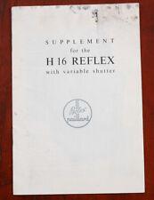 BOLEX H16 REFLEX SUPPLEMENTAL INSTRUCTIONS/130885