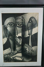 Art Deco Modernist Painting Faces Abstract Art Guache/Ink RUSSIA 2001 ROBAK Sign