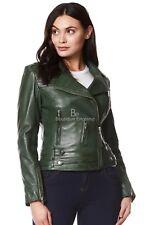 Ladies Leather Jacket Green Designer Fashion Biker Style Real Lambskin 5816