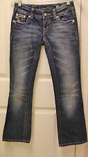 MISS ME SPARKLE BLACK & WHITE RHINESTONES WOMEN DENIM JEANS ~SIZE 25~