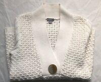 J Jill Chunky Knit Wool Alpaca Blend Cardigan creme size Small
