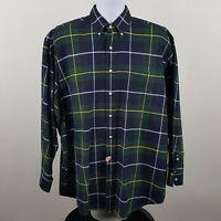 Ralph Lauren The Big Oxford Blue Green Plaid Men's L/S Button Shirt Sz Large L