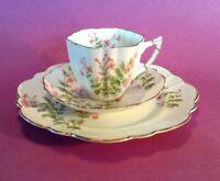 Victoria C&E Dessert Set - Cup Saucer Plate - Pink Trumpet Vine Flower - England