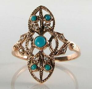 LONG 9K 9CT ROSE GOLD PERSIAN TURQUOISE DIAMOND ART DECO INS RING FREE RESIZE