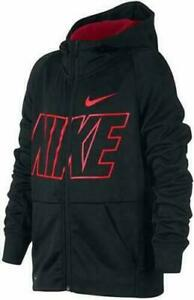 Nike Boys' Therma Black/Red Crush Graphic Full-Zip Hoodie Size L (CJ4311-010)