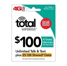 TOTAL WIRELESS  Prepaid $100 Refill Top-Up Prepaid Card ,PIN / RECHARGE
