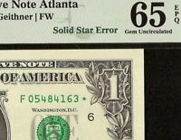 GEM 2009 $1 DOLLAR BILL SOLID STAR ERROR NOTE CURRENCY PAPER MONEY PMG 65 EPQ