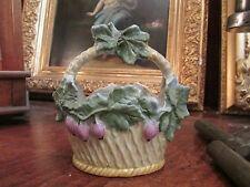 ancienne coupe panier en biscuit vernissé decor de vigne polychrome epoque 1900