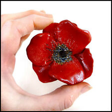 Bright Red Poppy Flower Pottery Hanger for Wall or Table Display by Zoo Ceramics