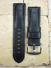 24mm Gator Grain Leather Strap Watch Band Pam 1950 Tang Buckle Blue Stitch