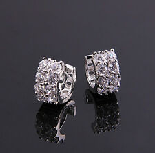 Top Quality Platinum Plated with White Zircons Two Rows Hoops Earrings E338