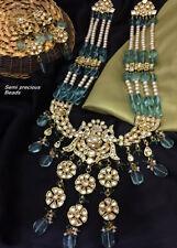 Real Polki Ad CZ Handmade Bollywood Jewelry Bridal Kundan Necklace Set Statement
