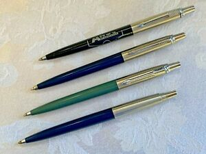 VTG Parker Jotters Lot/4 Brushed Steel USA Blue Black Gray ALL Write Brass Thrds