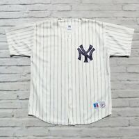 Vintage 90s New York Yankees Pinstripe Jersey by Russell Athletic XL Made in USA