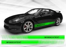 2 Seitenstreifen Wunschtext Autoaufkleber Tuningstreifen Rennstreifen Autotuning
