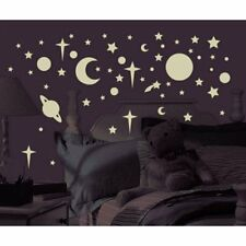 GLOW in the DARK 258 Wall Stickers Moon Star Sun Planet Room Decor Decals Space