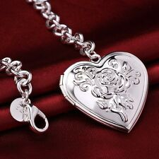 925 Stamped Sterling Silver Filled SF Heart Pendant Charm Bracelet BL-A254