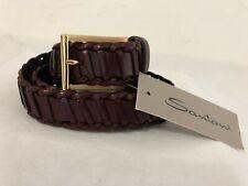 Santoni Italy Men's Braided Leather Belt Burgundy w/Gold Buckle Size 38in/95cm
