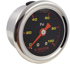 Fuel Pressure Gauge Liquid Filled Polished Case and Black Face 1/8 Npt (100 Psi)