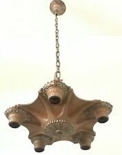 Antique 5 socket original Art Deco polychrome cast iron light fixture Markel