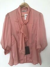 BNWT PRADA SILK CHARMEUSE LIGHT PINK PUSSY BOW BELL SLEEVE BLOUSE SHIRT 46 UK 14