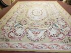 Aubusson Rug 9x12 French Pastel Rug Floral Bouquets French Style Flat-Weave Wool