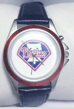 Mlb Phillies Watch Sportivi Baseball Music Blue Leather Band Silver Red Case New