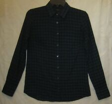 Womens Express Boyfriend Button Down Long Sleeve Shirt Plaid Size 00 Excellent