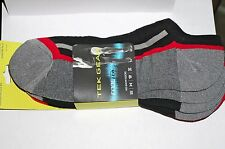 TEK GEAR Men's Cooltek No-Show Socks 3-Pack Black/Red/Gray Sock SZ 10-13 New Tag
