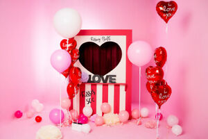 Valentine's Day Balloons in Pink Room 7x5ft Backdrop Vinyl Photo Background LB