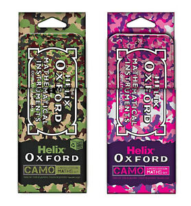 Helix Oxford Camo Maths Set Green or Pink 9 Piece Limited Edition Set