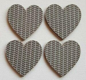 Handmade Set of 4 Wooden Heart Fridge Magnets Monochrome Geometric Pattern Print