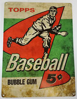 TOPPS BASEBALL FIVE CENTS 5¢ CHEWING GUM HEAVY DUTY METAL ADVERTISING SIGN