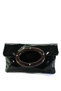 Kate Spade Womens Patent Leather Top Handle Clutch Green Handbag