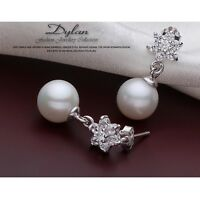 Brand New Silver Imitated Pearl Star Drop Earrings 925 Star with Crystal Gift
