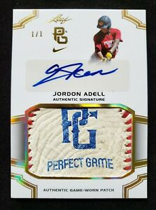 2016 Leaf Perfect Game JORDON ADELL Auto 1/1 JO Game Worn Patch #PA-JA2 Relic