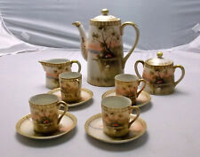 Swan Tea Set, Gold Moriage, Marked, Hand Painted Teapot Sugar Creamer, 4 Cups