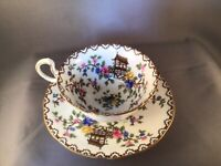 """VINTAGE AYNSLEY BONE CHINA CUP AND SAUCER """"PAGODA"""" MADE IN ENGLAND REG'D.694635"""