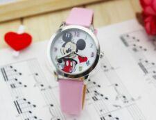 Kids Girls Mickey Mouse Light Pink Wrist Watch minnie Analog Leather Strap Slim