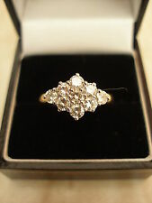18 CARAT GOLD BRILLIANT CUT DIAMOND CLUSTER DRESS COCKTAIL RING BNIB MADE IN UK