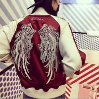 Womens Mens Sukajan Black/Red Embroidered Bomber Jacket Coat baseball uniform