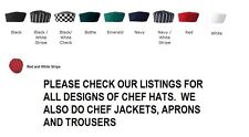 SKULL CAP CHEFS HATS CHEF HAT PROFESSIONAL CATERING CHEF CAP AND CHECK CAPS