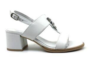 Sandali scarpe da donna Nero Giardini E012264D casual tacco basso pelle estive
