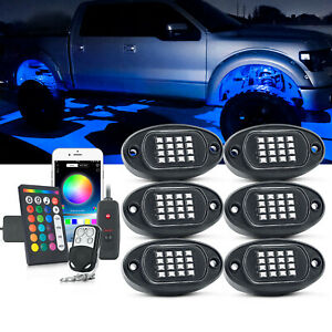 MICTUNING 6 Pods RGB LED Rock Light Muiltcolor Offroad Underbody Lamp App Remote