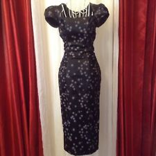 STOP STARING SATIN BLACK AND GRAY WIGGLE DRESS NWOT  SZ SMALL