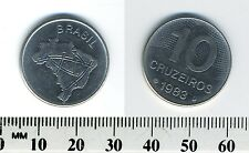 Brazil 1983 - 10 Cruzeiros Stainless Steel Coin - Map of Brazil