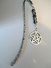 BOOKMARK SILVER TONED PENTAGRAM SNOWFLAKE OBSIDIAN BEADS.WITCH WICCA BOS.BOM